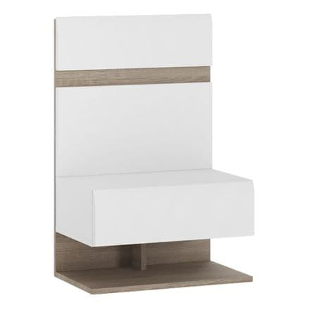 Chelsea Bedroom Bedside Extension for bed in white with an Truffle Oak Trim